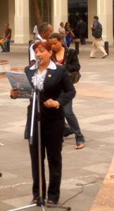 La presidenta de FSP, Catalina Cuesta, durante su intervención