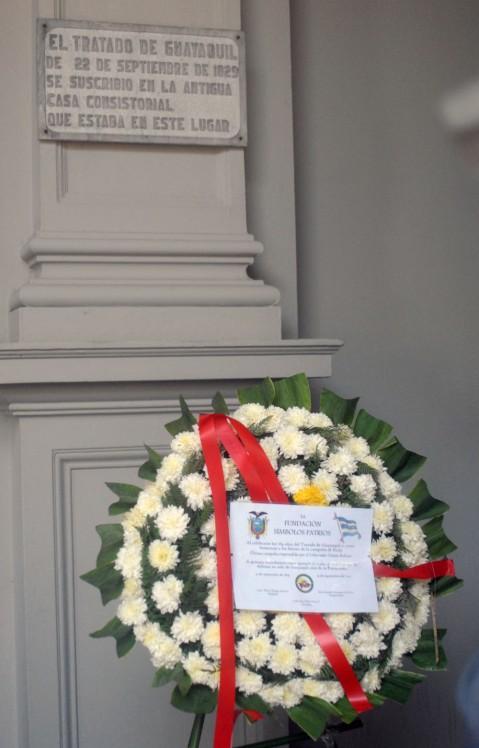 """""""La Fundación Símbolos Patrios al recordarse los 184 años del Tratado de Guayaquil y como homenaje a los héroes de la Batalla de Buijo, última campaña emprendida por el Libertador Simón Bolívar, a quienes recordamos como ejemplo de valor y sacrificio por la defensa no solo de Guayaquil sino de la Patria toda""""."""