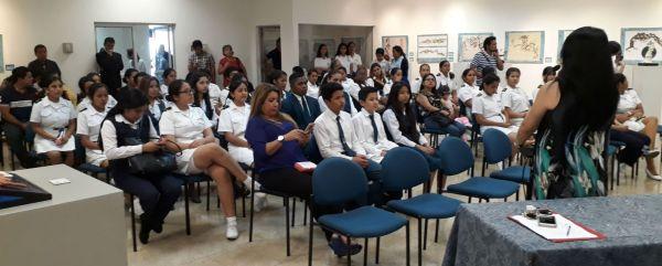 Auditorio del Archivo Histórico del Guayas donde se premió a los ganadores de los concursos por el Día del Escudo Nacional.